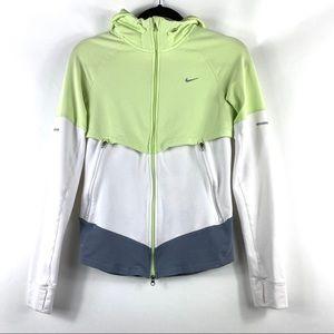 NIKE Dri Fit Zipper Hoodie Green and White Jacket